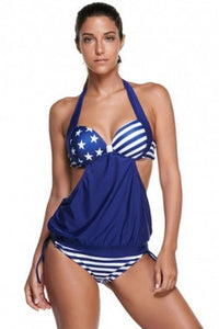 Fashionable Navy Tricolor Stripes Halter Stylish Tankini Her Swimsuit