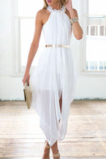 HisandHerFashion Feminine Cut With White Elegant Sheer Chiffon Trendy Women Dress