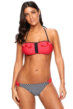 Feminine Touch Coral Frill Bikini and Striped Her Fashion Swimsuit