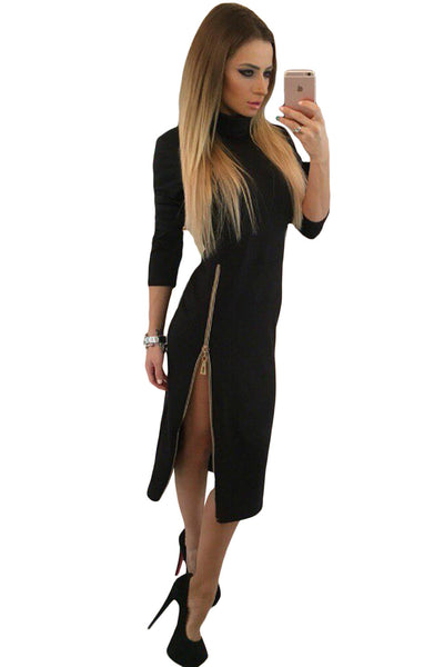 Flattering Black High Neck Zipped Slit Long Sleeve Her Midi Dress