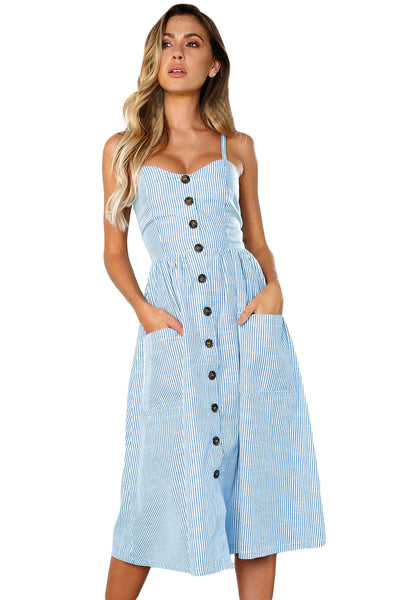 127f4fb3a09 Fit-and-flare Her Fashion Blue White Striped Button Down Midi Dress –  HisandHerFashion.com
