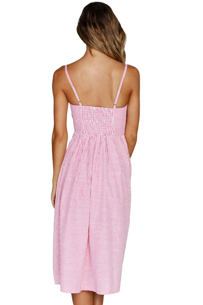 Fit-and-flare Her Fashion Pink White Striped Button Down Midi Dress