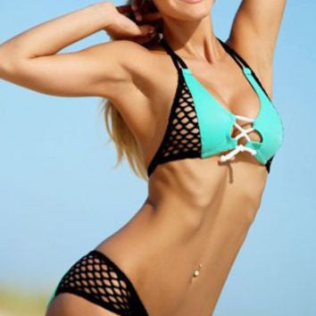 Fitness Inspired Top Sexy Shorts Fishnet Accent Swimwear