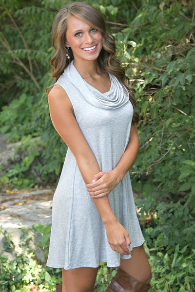 Flared Shape Trendy Cowl Neck Hunter Grey Dress