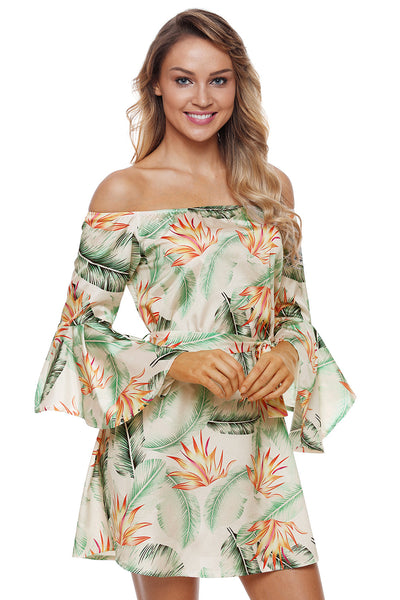 Flared Sleeves Tropical Leaf Print White Off Shoulder Her Summer Dress
