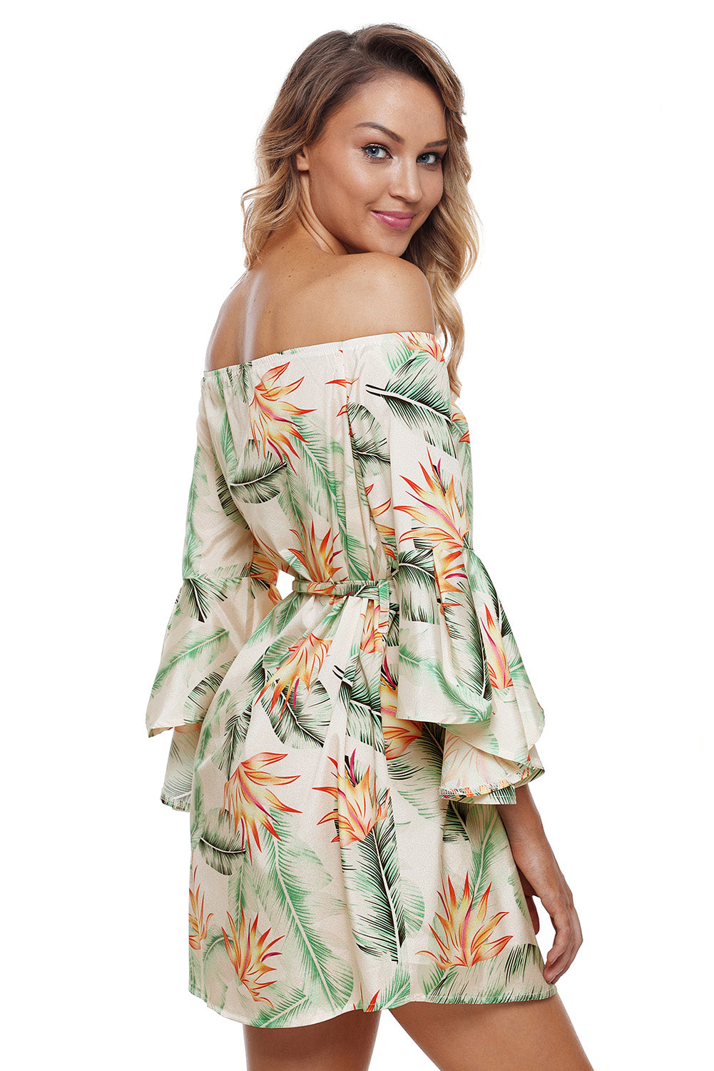 Flared Sleeves Tropical Leaf and Flower Print Off Shoulder Her Summer Dress