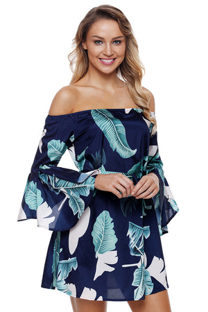 Flared Sleeves Tropical Leaf Print Navy Off Shoulder Her Summer Dress