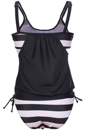 Flattering Black Striped Tankini with Triangular Briefs