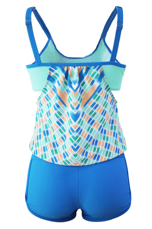 Flattering Blue Printed Tankini with Swim Trunks