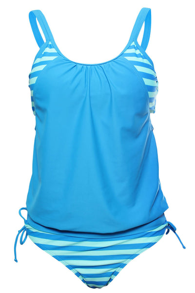 Flattering Blue Striped Tankini with Triangular Briefs