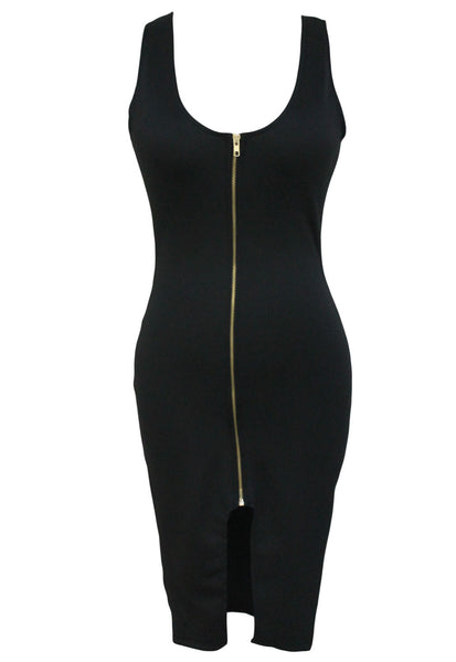 Flattering Bodycon HisandHerFashion Black Midi Dress with Gold Zipper Front