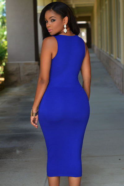 Flattering Bodycon HisandHerFashion Royal Blue Midi Dress with Gold Zipper Front