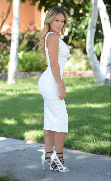 Flattering Bodycon HisandHerFashion White Midi Dress with Gold Zipper Front