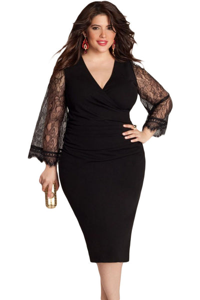 Flattering Delicate Lace Bell Sleeves Plus Size Little Black ...