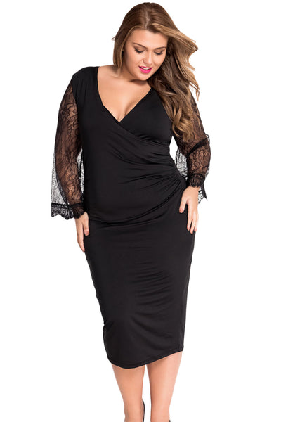 0bb68b5da5664 Flattering Delicate Lace Bell Sleeves Plus Size Little Black Dress ...