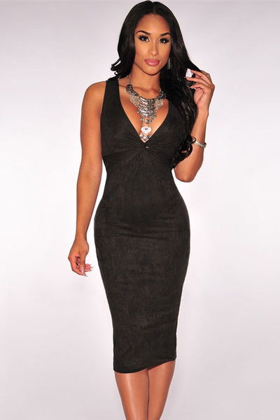 Flattering Faux Suede Sleeveless V neck Black Midi Dress