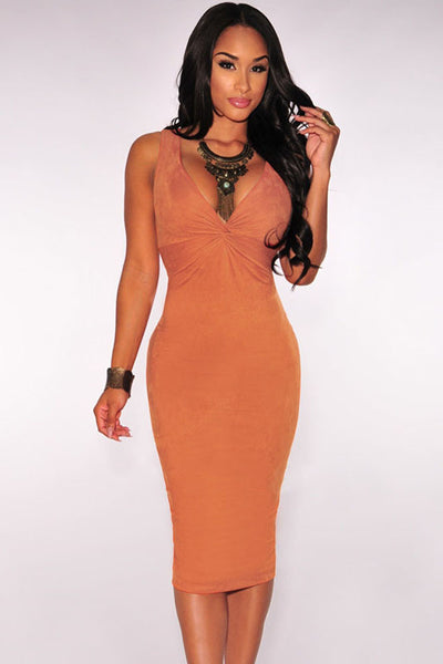 Flattering Faux Suede Sleeveless V neck Orange Midi Dress