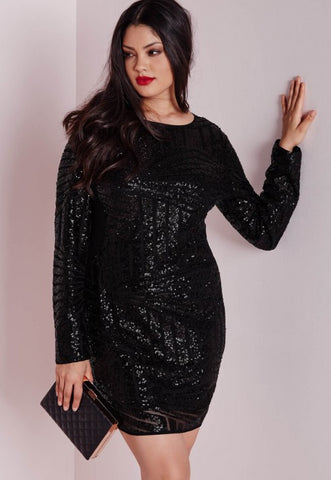 Flattering Fit Black Plus Size Sequin Mesh Mini Dress