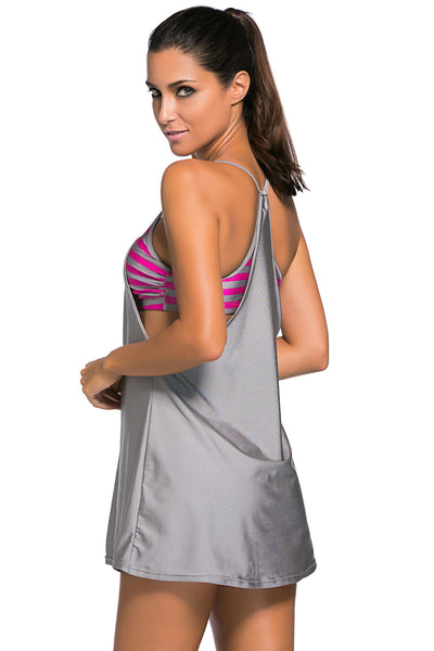 Flattering Grey Flowing Swim Dress Layered One Piece Tankini Top