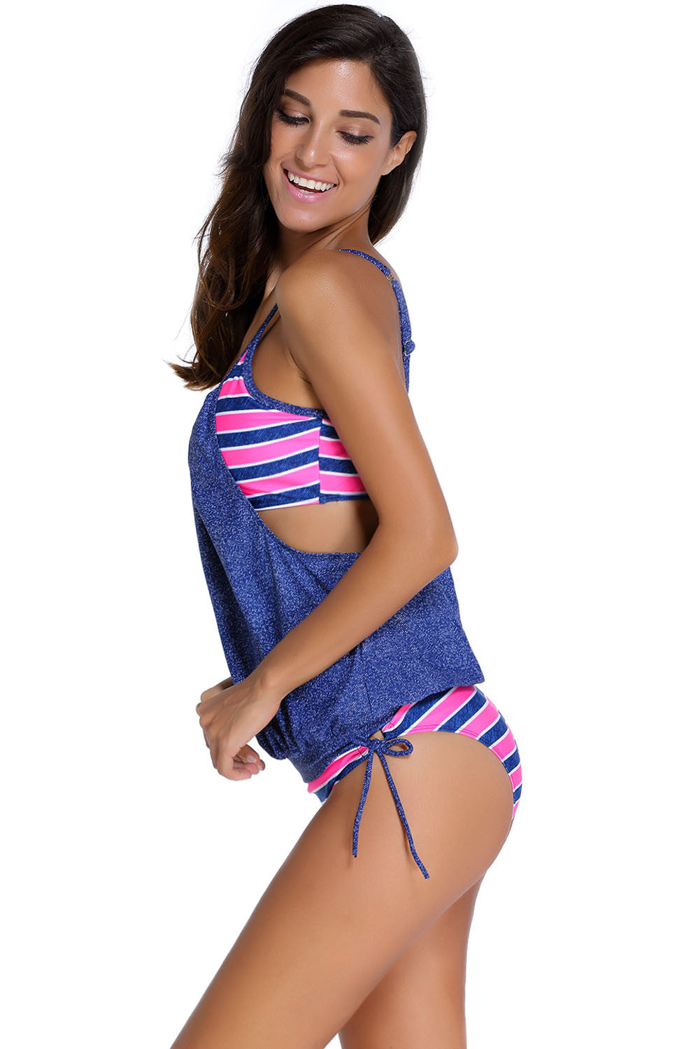 Flattering Jeans Blue Striped Tankini with Triangular Briefs