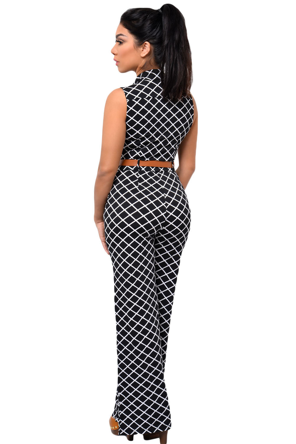 Flattering Lattice Design Print Belted Wide Leg Her Chic Jumpsuit