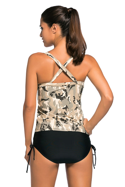 Flattering Light Camouflage Print 2pcs Tankini Her Swimsuit