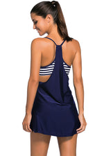 Flattering Navy Flowing Swim Dress Layered One Piece Tankini Top