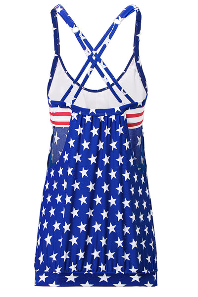 Flattering Stars and Stripes American Flag Tankini with Triangular Briefs
