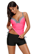 Flattering Pink Bralette Tankini Top with Shorts Her Fashion Swimsuit