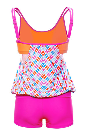 Flattering Rosy Printed Tankini with Swim Trunks