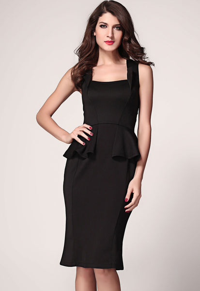 Flattering Square Neckline Sleeveless HisandHerFashion Midi Women Dress
