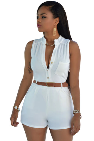 Copy of Flattering White V Neckline Slim Fit Belted Romper