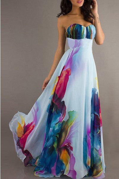 Floral Print Trendy Women's Maxi Dress