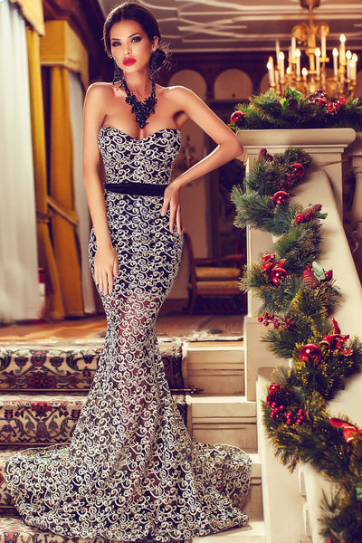 Floral Foil Mesh Elegant Strapless Mermaid Evening Gown