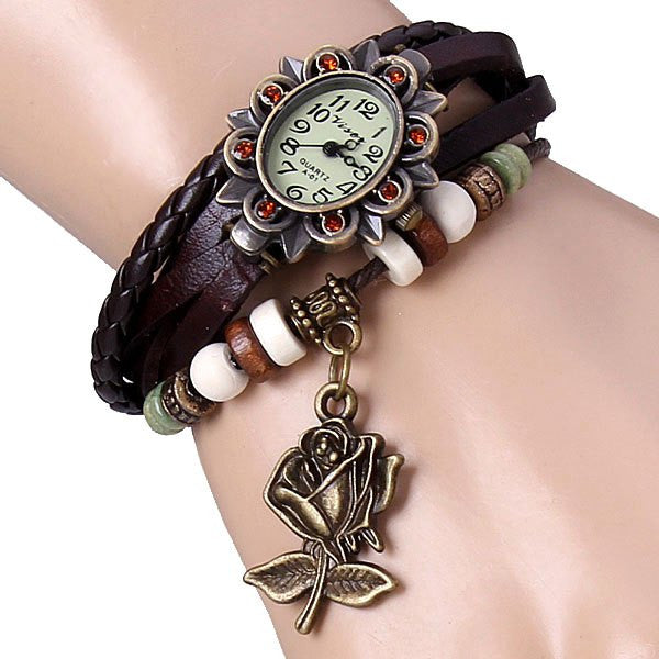Flower Elliptical Dial and Knitting Leather Quartz Watch Band for Women