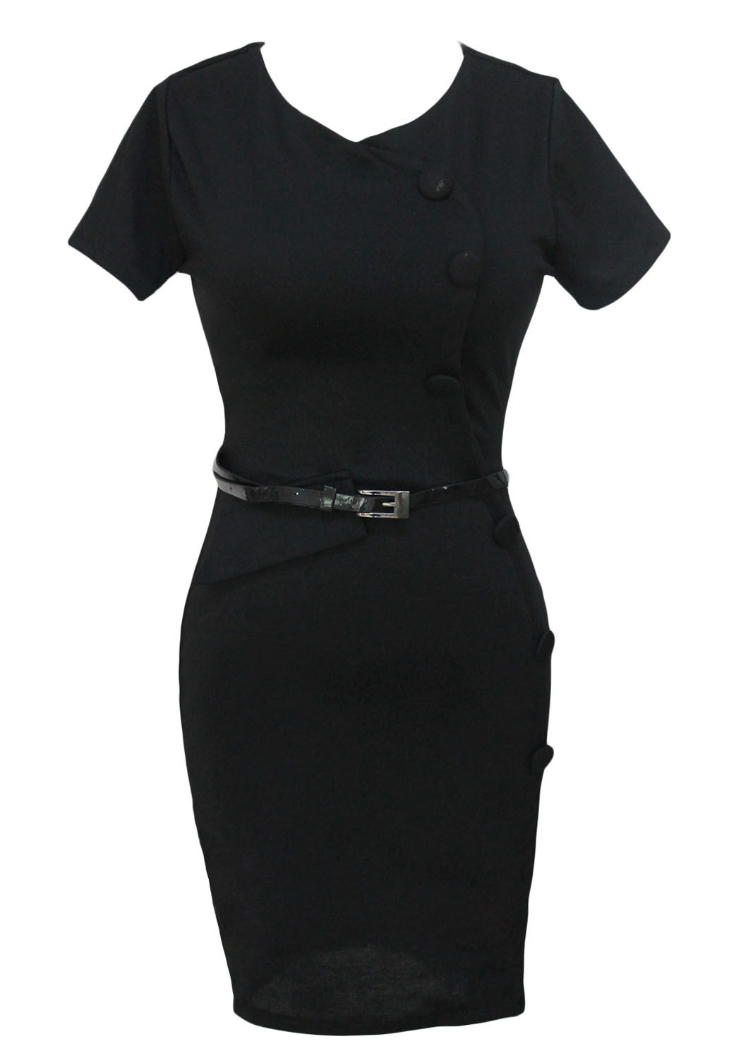 Formal Button Black Pencil Vintage Pinup Signal Fitted Party Shift Sheath Knee-Length