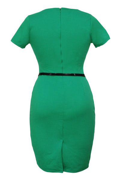 Formal Button Green Pencil Vintage Pinup Signal Fitted Party Shift Sheath Knee-Length