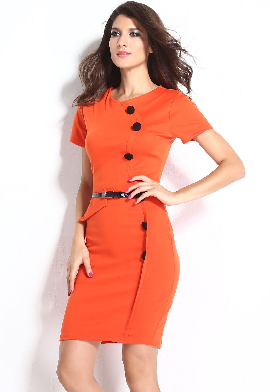 Formal Button Orange Pencil Vintage Pinup Signal Fitted Party Shift Sheath Knee-Length