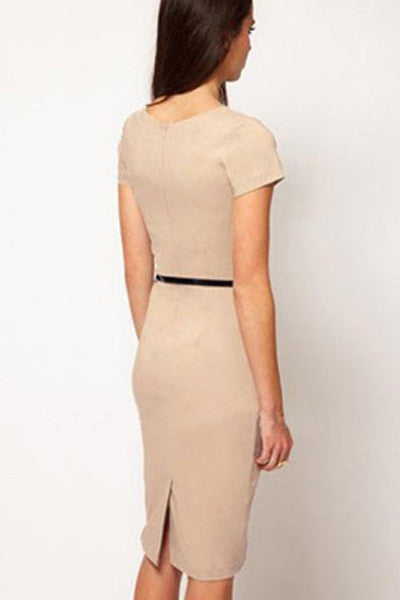Formal Button Apricot Pencil Vintage Pinup Signal Fitted Party Shift Sheath Knee-Length