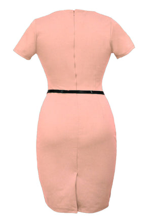 Formal Button Pink Pencil Vintage Pinup Signal Fitted Party Shift Sheath Knee-Length