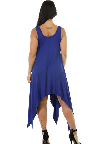 Free-Spirited Blue Flare Symmetrical Her Midi Dress