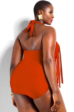 Orange Fringe Embellished Plus Size Halter Monokini