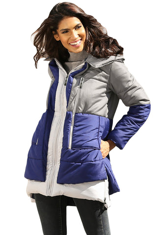 GREY NAVY COLORBLOCK 2-IN-1 LOOK HER FASHION QUILTED JACKET