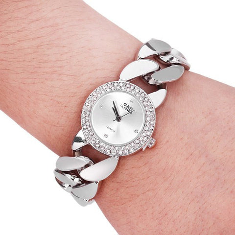 "G & D Exquisite Pointer Stainless Steel Back and Chain Band ""Trendy Series"" Quartz Watch"