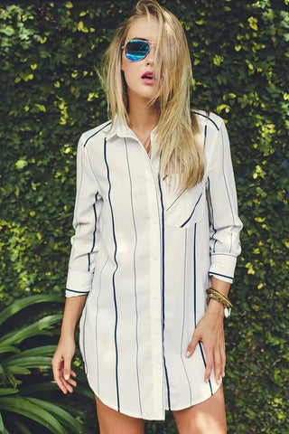 HisandHerFashion Gentle Fawn Voyage White Striped Shirt Dress