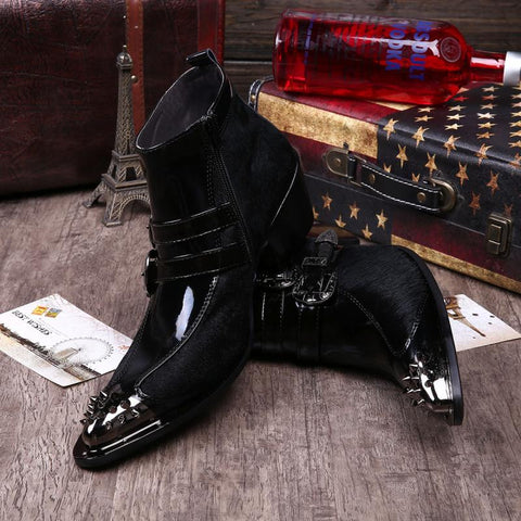 "Genuine Leather+ Horse Hair Pointed Toe Boots ""Showoff"" Series New Arrival"