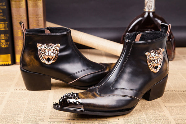 "Genuine Leather Tiger Head Decoration Short Boot ""Impression"" Series"