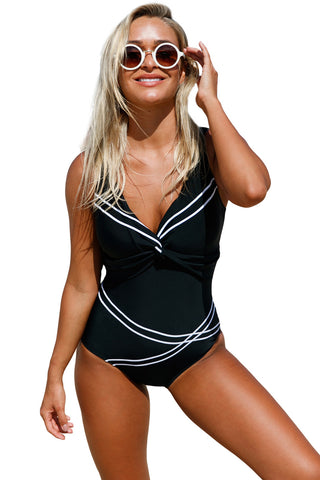 Girly Sailor Lace Up Back Her Fashion One Piece Bathing Suit
