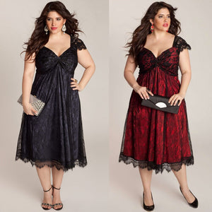 Glamorous Red Lace Plus Size Her Contemporary Cocktail Dress