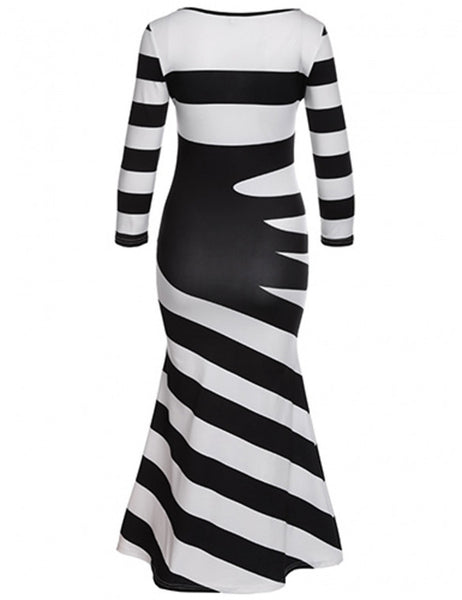 Glamorous Black White 3/4 Sleeve Stripe Maxi Long Full Women Dress